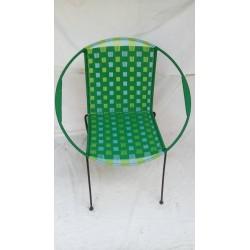 Fauteuil Mix Vert tissage épais+ bleu/anis