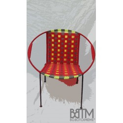 Fauteuil Mix Rouge tissage large + gris/janis