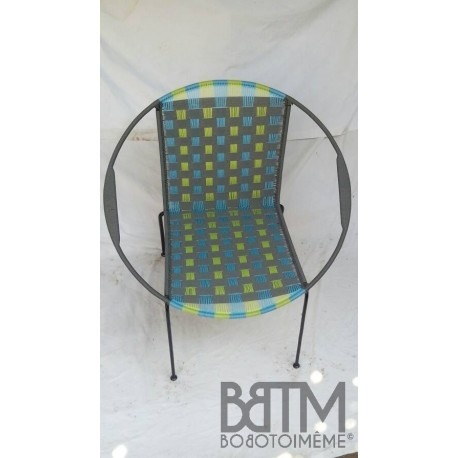 Fauteuil Mix Gris+anis+turquoise tissage large