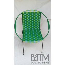 Fauteuil Mix Vert tissage large+ turquoise/anis